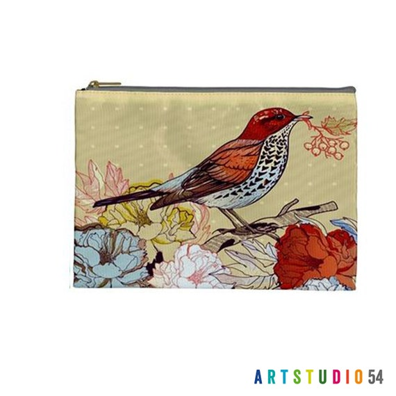 "Floral Bird Pattern on a Pouch, Make Up, Cosmetic Case Travel Bag Pencil Case - 9"" X 6"" -  Large -  Made by artstudio54"