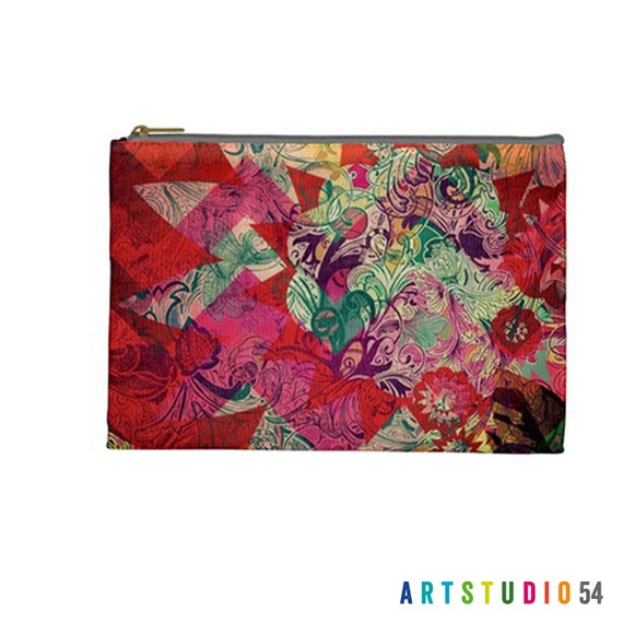 "Flower Quilt Sun Pattern on a Pouch, Make Up, Cosmetic Case Travel Bag - Pink, Red, Green - 9"" X 6"" -  Large -  Made by artstudio54"