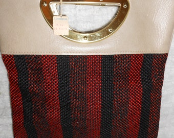 Vintage tweed and vinyl handbag, never used, excellent condition