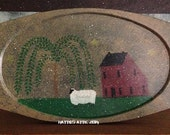 Primitive Hand Painted Saltbox, Willow, Sheep Wooden Plate--FAAP OFG HaFAIR AhC