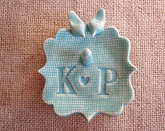 Wedding ring holder, love  birds monogram ring dish , His and Her personalized mint green ceramic dish, gift