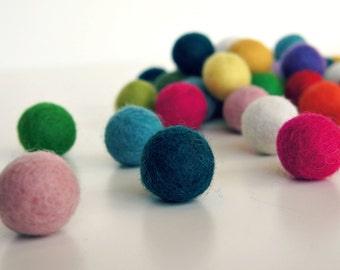 50 Felt Balls Multicolored 20mm size