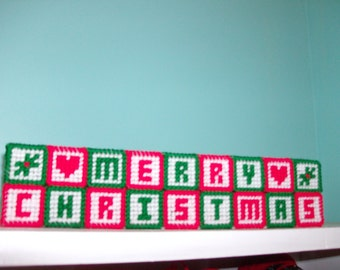 Merry Christmas Mantle or Table Top Decoration