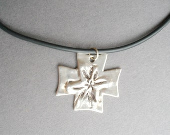 Nature Designed Fine Silver Cross - Ready to Ship
