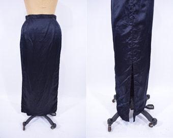 1970s skirt vintage 70s does 50s black satin long pencil wiggle skirt S