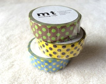 mt Washi Masking Tape - mt1P Dots - Set of 3 - Kiwi / Giraffe / Aqua - 2014AW