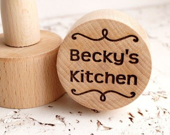 Personalized embossing cookie stamp, embossing rolling pin alternative, cookie decorating stamp, wooden kitchen stamp