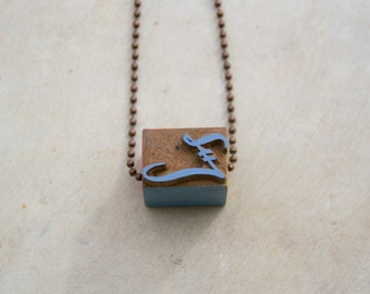 Vintage wooden typographic necklace. Antique copper chain. Letter Z blue yellow pink wood