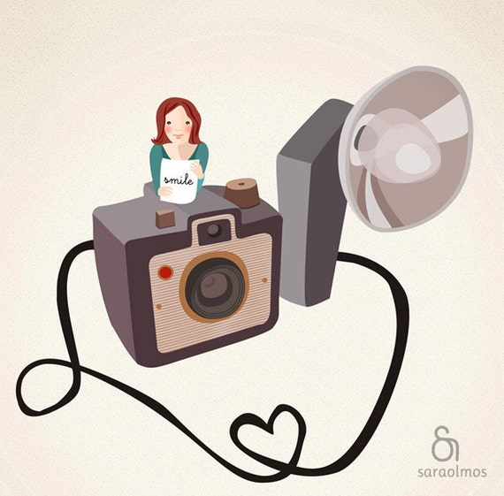 The photographer Print 8 x 11.5 - Girl with a vintage photo camera