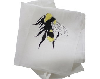 Bumblebee tea towel hand printed