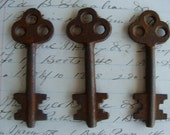 3 Antique Gothic Skeleton Keys