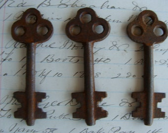 3 Antique Gothic Skeleton Keys
