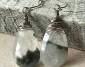 Cats Eye and Quartz Earrings, Bi-Color Black and White Stone Teardrop Earrings