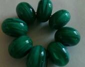 Set of 8 Swirly Green Lampwork Beads