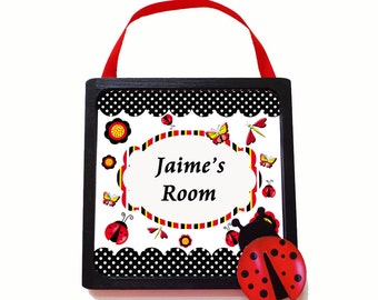 Personalized Little Girl's Wooden Framed Door Sign Ladybug Room Decor