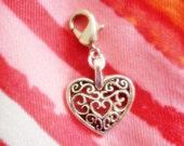 Silver Heart Charm Clip