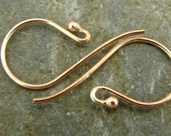 Ball End French Hook Ear Wires -  Rose Gold Vermeil - One Pair - ewbergv