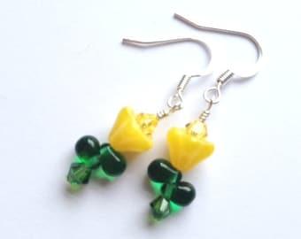 SALE-Glass Flower Earrings, Crystal Swarvoski, Sunny, Yellow Earrings, Spring Fashion, Minimalist Earrings, My Julie Jewels