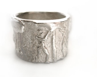 Garden of Eden || Sterling silver ring || Wide band wedding/ anniversary /engagement ring || Made in Israel.