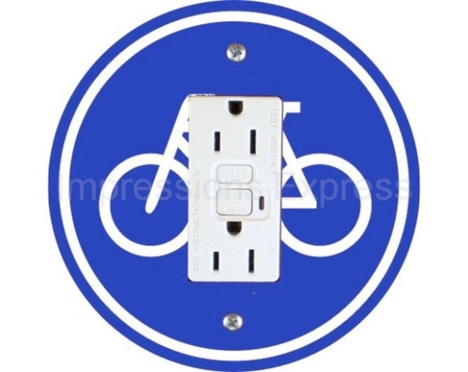 Bicycle Sign Grounded GFI Outlet Plate Cover
