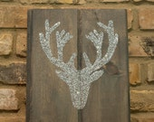 """Glitter Deer Antler Silhouette -  Wood Wall Art - 10""""x12"""" - Gray Stain - Silver Glitter - Deer - Antlers - custom color and state available"""