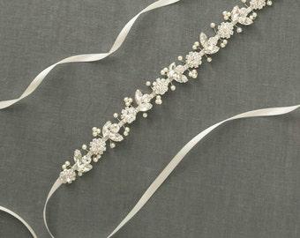 Thin Crystal Bridal Belt | Pearl Wedding Dress Sash | Skinny Rhinestone Sash | Silver Bridal Gown Belt | Flower Wedding Sash [Bisoux Sash]