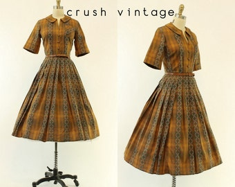 50s Plaid Dress Small / 1950s Shirtwaist Cotton Dress /  Diamond Rio Dress