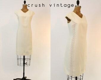 60s Lace Cotton Pique Dress Medium / 1960s White Mod Shift Dress / Pixie of California Dress