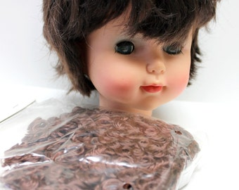 2 oz. pack of brown curly doll hair, doll crafting,67382,doll hair, brown doll hair,
