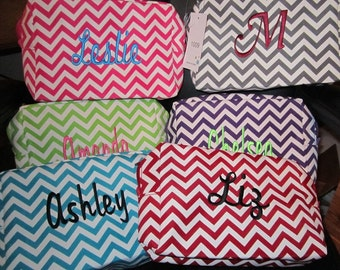 Microfiber Chevron Cosmetic/Travel Bag- Personalized or Plain-SALE