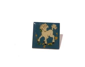 Blue Unicorn Hat Pin Lapel Pin 1980s enamel square floral pin