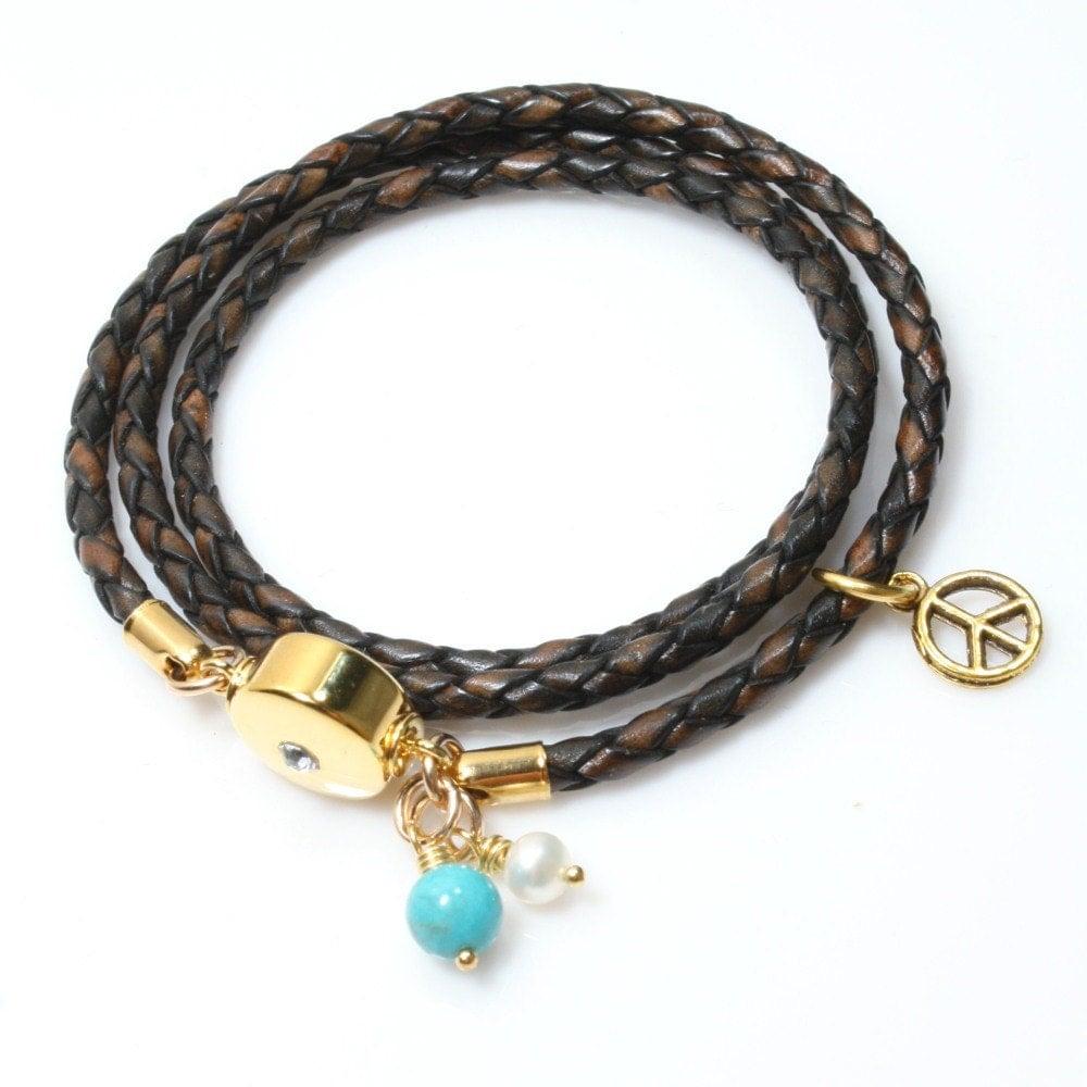 brown wrap bracelet womens leather bracelet womens boho