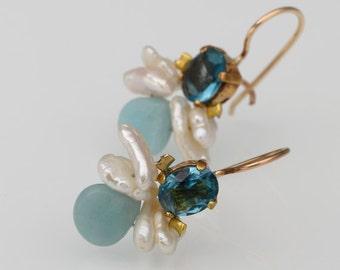 Blue Zircon Pearl Amazonite Bee Earrings in Copper, Blue Jewelry, Summer Earrings, Bohemian Wedding Earrings, Summer Wedding, Pearl Jewelry