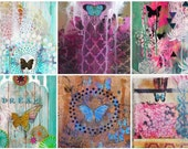 Butterfly Postcard Set - 6 Mixed Media Art Cards by Faith Evans-Sills