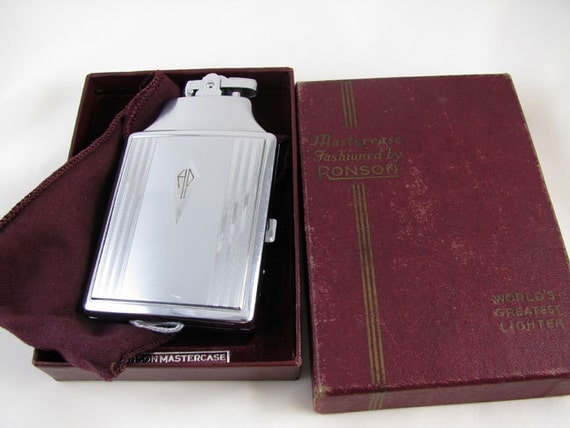 Cigarette case lighter Ronson chrome vintage Art Deco M29 C&E Near Mint Unused Old Stock