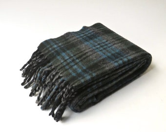 vintage Forest Green, Grey and Blue Plaid Woolen Scarf