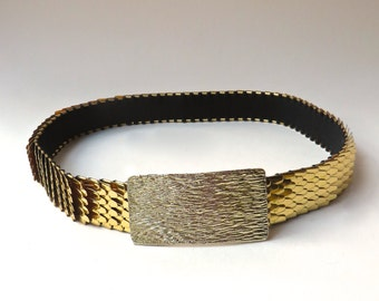 vintage Gold Metal Fish Scale Elasticized Cinch Belt
