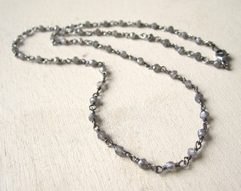 Labradorite beaded necklace on oxidized sterling silver