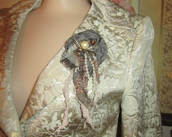 Boho Tattered Brooch,  Wearable Art, Floral Brooch Pin