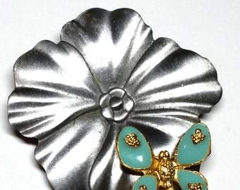 Vintage Ultra Craft Pin Pewter Flower with turquoise enamel butterfly Figural Brooch