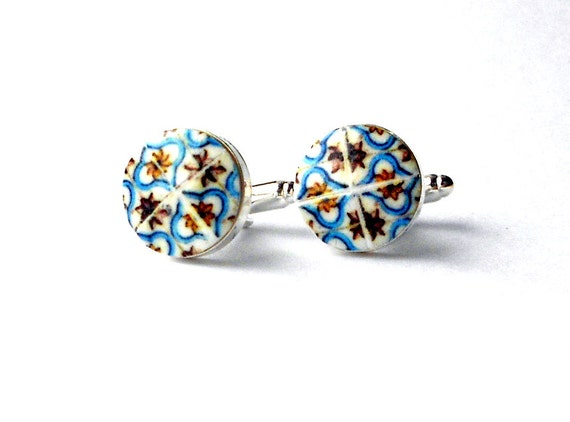 CUFF LINKS Tile Portugal Blue Gold 17th Century Azulejo  Gift Box Included Pombaline Father's Day Portuguese Ships from USA