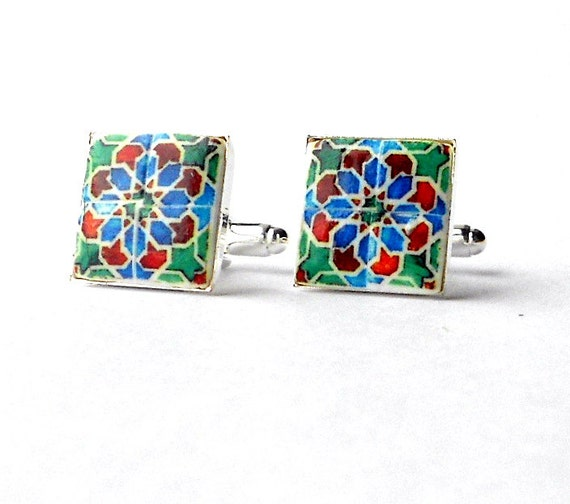Cuff Links Portugal  Antique Tile Replica,  Blue Green Red Aveiro  - (see photo of actual mural) 17mm