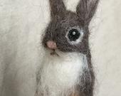 Needle felt finger puppet, Bunny Rabbit, Waldorf