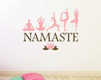 Yoga Namaste wall decal - Yoga decal - wall lettering - Inner Peace - lotus flower - Yoga Wall Art - Yoga Wall Decal - Namaste wall decal