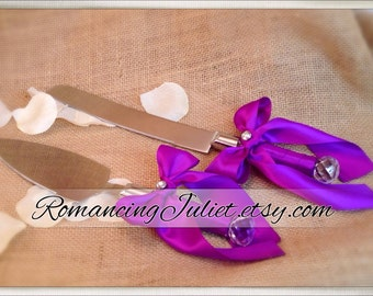 Elite Satin Cake Server Set with Rhinestone Accent ..You Choose The Bow Colors..shown in royal purple