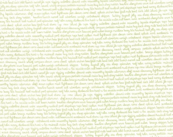 SUMMER SALE - Daysail - 1 yard -  Tiny Script in White and Green  - SKU 55108 29 - by Bonnie and Camille for Moda Fabrics