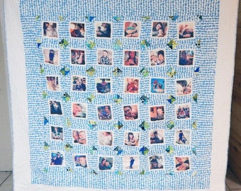 InstaWall Quilt, throw size Quilt, Photo Quilt, Instagram Wall, Wall Decor, CUSTOM fabrics, Granny Chic Home Decor