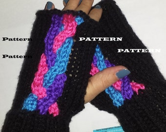 Pattern for Neon Cable Fingerless Mittens