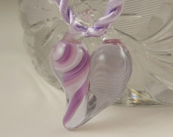 Fused Glass Lavender Heart - Heart Necklace - Lampwork Bead - Lampwork Glass Heart - Glass Heart - Heart Jewelry X1568