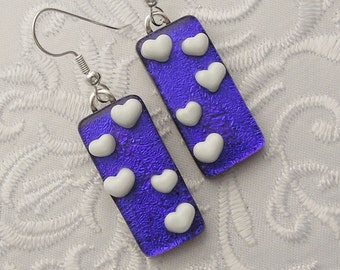 Heart Earrings - Heart Jewelry - Valentine Earrings - Dichroic Fused Glass Earrings - Stick Earrings - Heart - Blue Earrings X3851